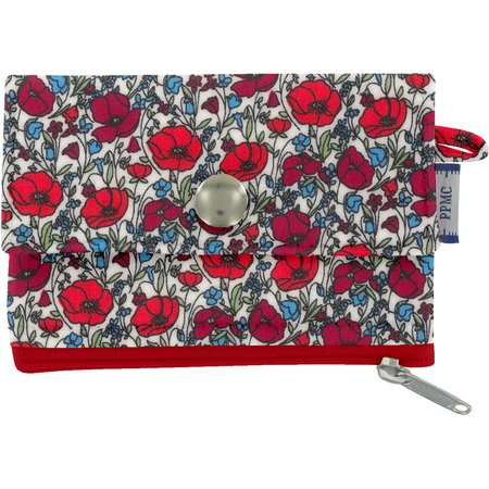 zipper pouch card purse poppy