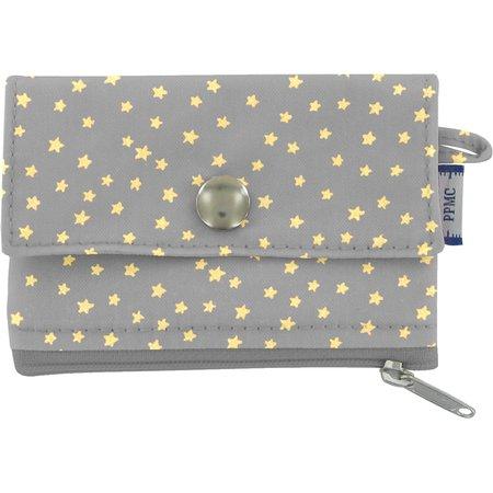 zipper pouch card purse etoile or gris