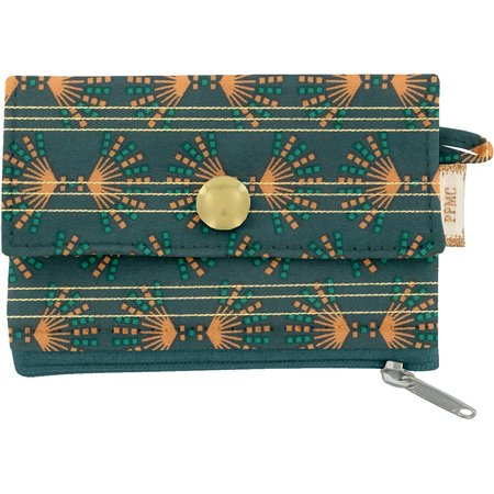 zipper pouch card purse eventail or vert