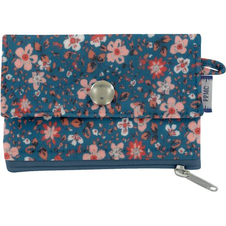 zipper pouch card purse fleuri nude ardoise