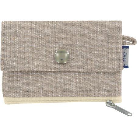 zipper pouch card purse silver linen