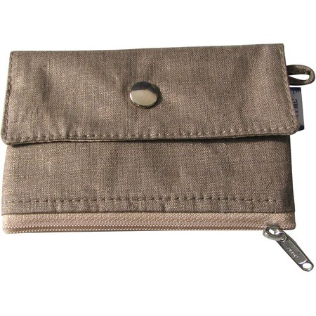 zipper pouch card purse gold linen