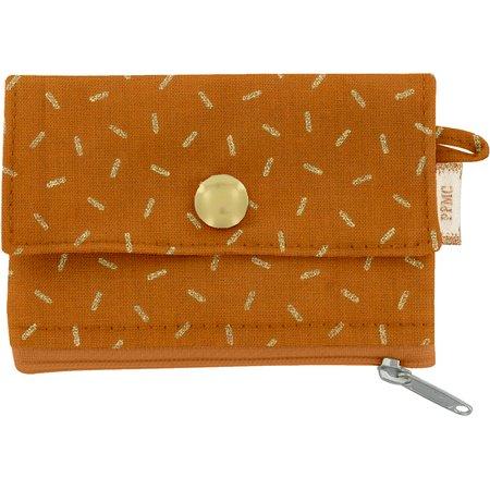 zipper pouch card purse caramel golden straw