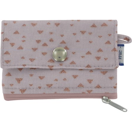 zipper pouch card purse triangle cuivré gris