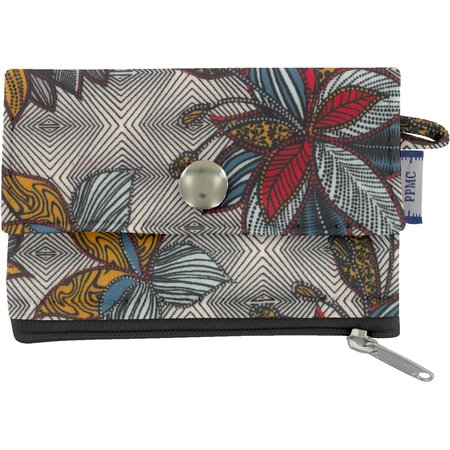 zipper pouch card purse wax fleuri