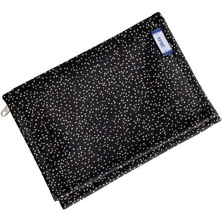 Portefeuille compact noir pailleté