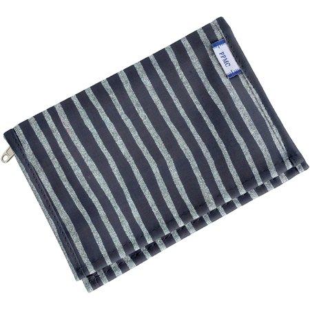 Compact wallet striped silver dark blue