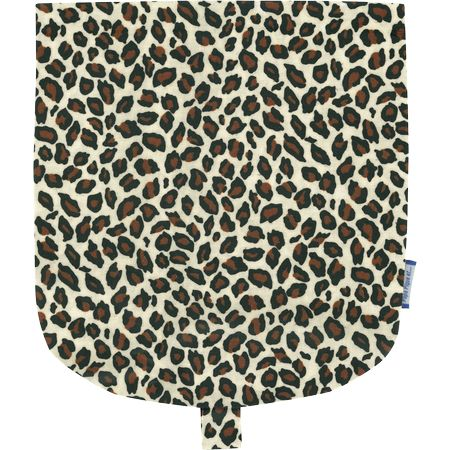 Flap of small shoulder bag leopard print