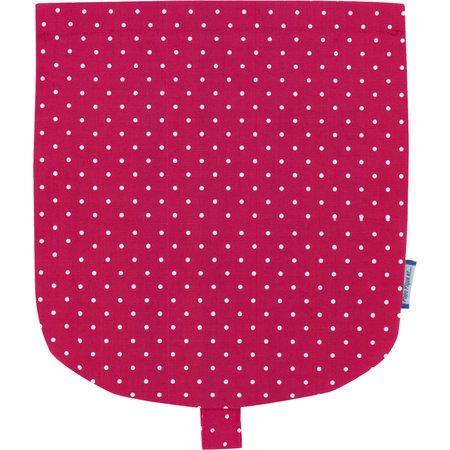 Flap of small shoulder bag fuschia spots