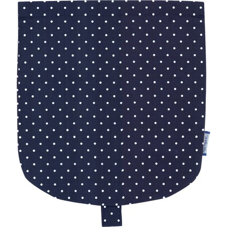 Flap of small shoulder bag navy blue spots