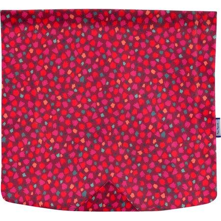 Rabat besace carré grand pompons cerise