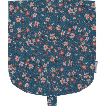 Flap of small shoulder bag fleuri nude ardoise
