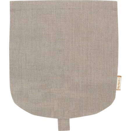 Flap of small shoulder bag silver linen