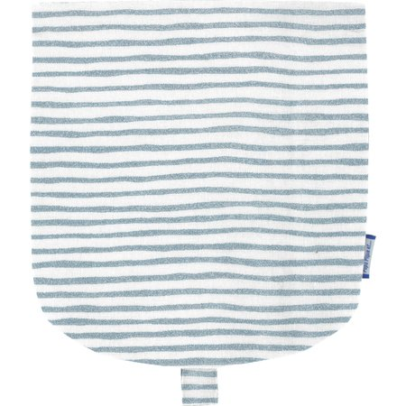 Flap of small shoulder bag striped blue gray glitter