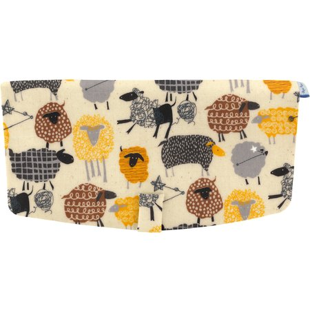 Flap of shoulder bag yellow sheep