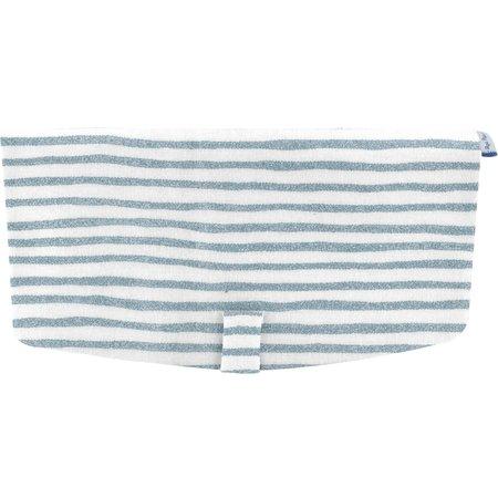 Flap of shoulder bag striped blue gray glitter