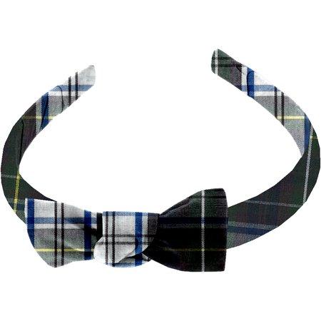 Serre-tête étroit ecossais vert et blanc