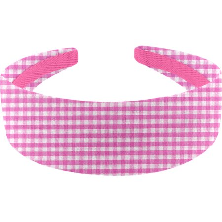 Wide headband fuschia gingham
