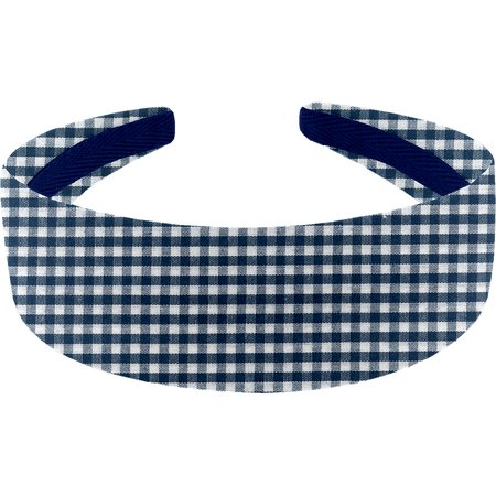 Wide headband navy blue gingham