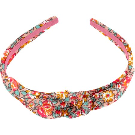 bow headband peach flower