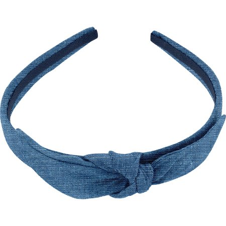 bow headband light denim