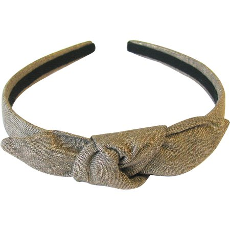 bow headband gold linen