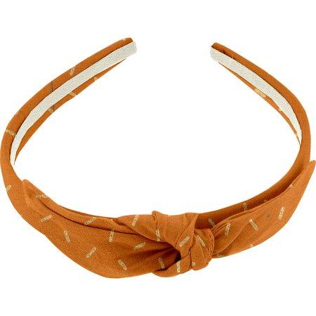 Serre-tête noeud paille dorée caramel