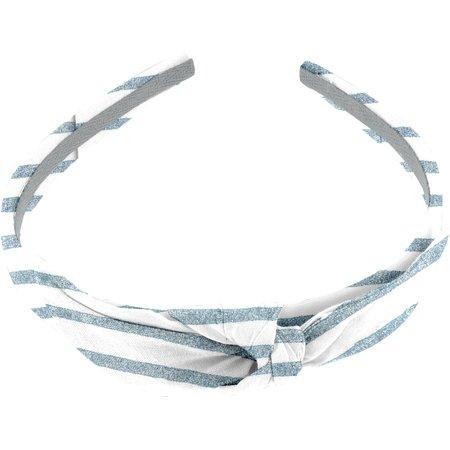 bow headband striped blue gray glitter