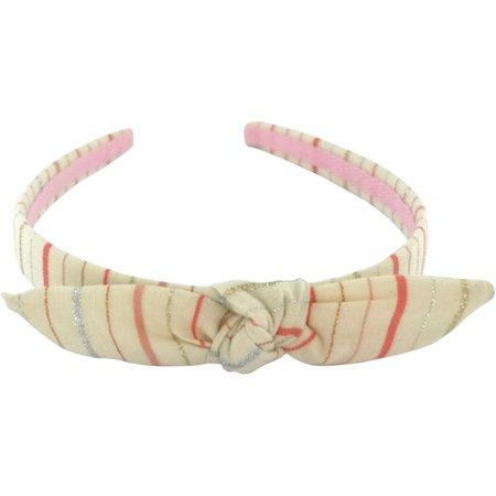 Serre-tête noeud rayé rose argent