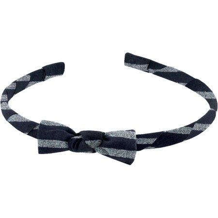 Thin headband striped silver dark blue