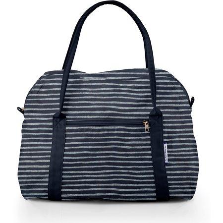 Bolsa azul plata rayado
