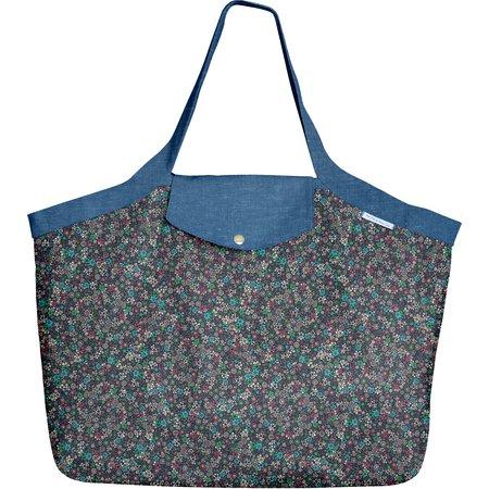 Grand sac cabas milli fleurs vert azur