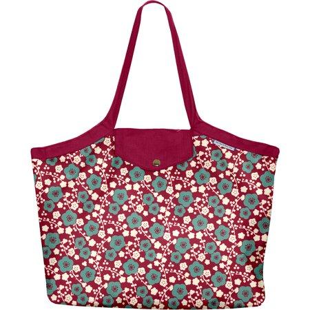 Sac cabas taille moyenne plissé cerisier rubis jade