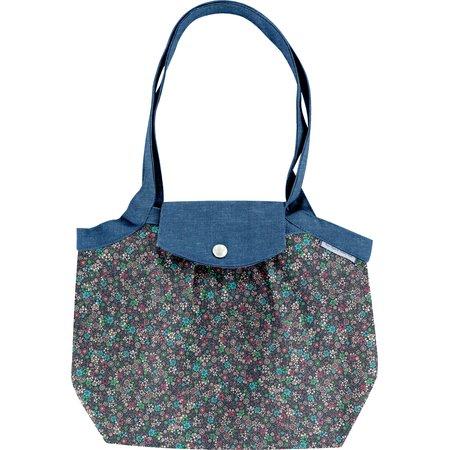 Petit sac cabas plissé milli fleurs vert azur