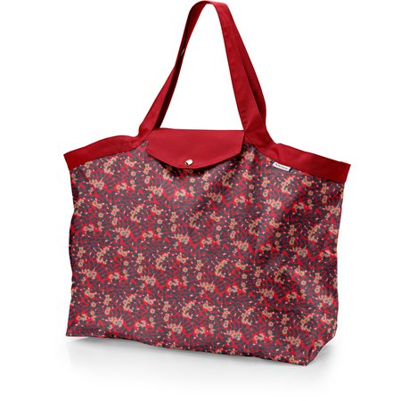Tote bag with a zip vermilion foliage