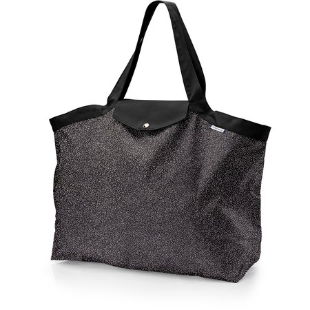 Tote bag with a zip glitter black