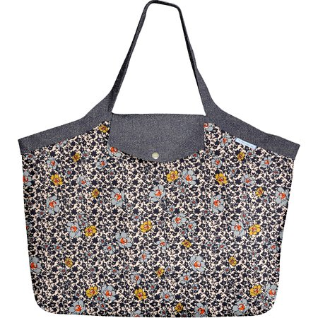 Tote bag with a zip ochre flower
