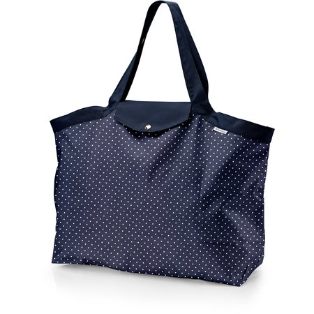 Tote bag with a zip navy blue spots