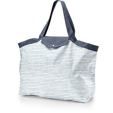 Bolso Cabas grande brillo azul gris a rayas