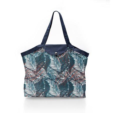 Pleated tote bag - Medium size feuillage marine