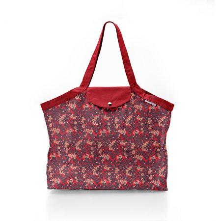 Pleated tote bag - Medium size vermilion foliage