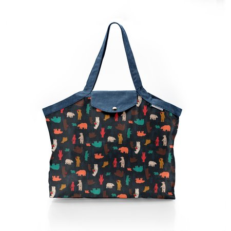 Pleated tote bag - Medium size grizzly