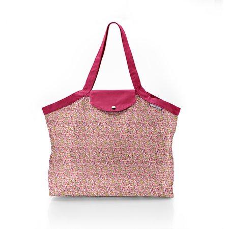 Pleated tote bag - Medium size pink jasmine