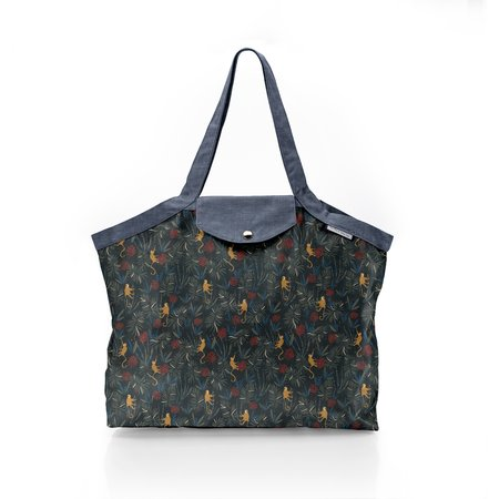 Pleated tote bag - Medium size jungle party