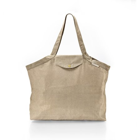 Pleated tote bag - Medium size golden linen