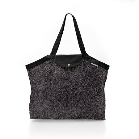Pleated tote bag - Medium size noir pailleté