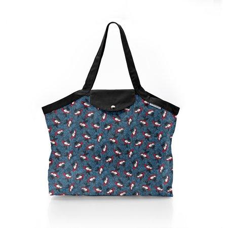Pleated tote bag - Medium size flowered night