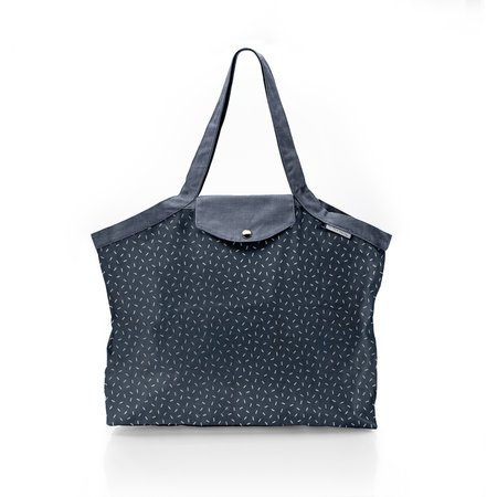 Pleated tote bag - Medium size silver straw jeans