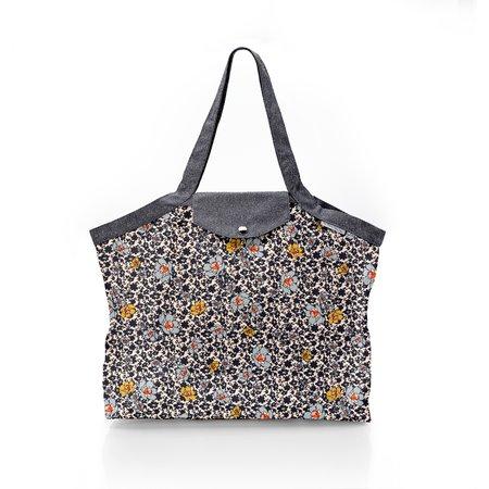 Pleated tote bag - Medium size ochre flower