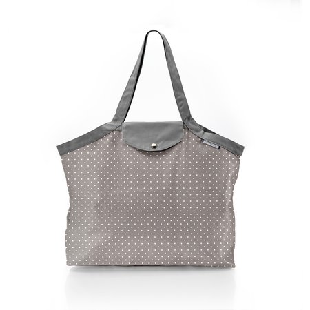 Pleated tote bag - Medium size light grey spots